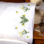 """Buttercups - Stamped Pillowcase Pair 20""""X30"""" For Embroidery"""