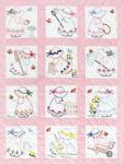 """Girls - Stamped White Nursery Quilt Blocks 9""""X9"""" 12/Pkg"""