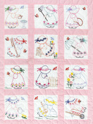 "Girls - Stamped White Nursery Quilt Blocks 9""X9"" 12/Pkg"