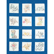"Puppies - Stamped White Nursery Quilt Blocks 9""X9"" 12/Pkg"