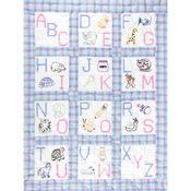 """ABC - Stamped White Nursery Quilt Blocks 9""""X9"""" 12/Pkg"""