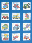 "Transportation - Stamped White Nursery Quilt Blocks 9""X9"" 12/Pkg"