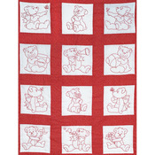 "Baby Bears - Stamped White Nursery Quilt Blocks 9""X9"" 12/Pkg"