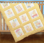 "Baby Ducks - Stamped White Nursery Quilt Blocks 9""X9"" 12/Pkg"