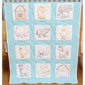 """Farm Animals - Stamped White Nursery Quilt Blocks 9""""X9"""" 12/Pkg"""