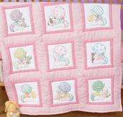 "Sunbonnet Babies - Stamped White Nursery Quilt Blocks 9""X9"" 12/Pkg"