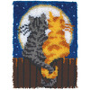 Moonlight Meow - Wonderart Latch Hook Kit 15 X20  CARON-Wonderart: Latch Hook Kit. This kit will give you a rug that is wonderfully lush and can be made to fit any decor motif. The possibilities are astounding, you can use them on the floor, wall, sofa, bed, window or even make them into pillows, nap-mats and seat cushions. They are easy to make, it would be a wonderful family project! This kit contains a 50% polyester/50% cotton canvas, pre- cut rug yarn, illustrated how to latch hook instructions and an easy-to-follow chart. Hook tool and binding materials are not included. Size: 15x20in. Design: Moonlight Meow. Made in USA.