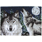 "Midnight Wolves - Wonderart Latch Hook Kit 27""X40"""
