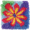 Flower Power - Shaggy Latch Hook Kit 12 X12  CARON-Shaggy Latch-Hooked Rug Kit. These extra shaggy rugs are wonderfully lush and can be made to fit any decor motif. The possibilities are astounding, you can use them on the floor, wall, sofa, bed, window or even make them into pillows and seat cushions. They are easy to make, it would be a wonderful family project! This kit contains color coded canvas, pre-cut rug yarn and instructions. Hook tool and finishing materials are not included. Size: 12x12in. Design: Flower Power. Made in USA.
