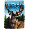 Deer - Wonderart Classic Latch Hook Kit 20 X30  CARON-Classics Latch-Hooked Rug Kit. These rugs are wonderfully lush and can be made to fit any decor motif. The possibilities are astounding, you can use them on the floor, wall, sofa, bed, window or even make them into pillows, nap-mats and seat cushions. They are easy to make, it would be a wonderful family project! This kit contains color coded canvas, pre-cut rug yarn and instructions. Hook tool and finishing materials are not included. Size: 20x30in. Design: Deer. Made in USA.