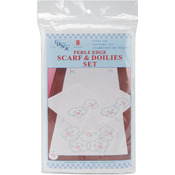 Stamped Dresser Scarf & Doilies Perle Edge - Starburst Of Hearts
