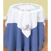 """Birds - Stamped White Perle Edge Table Topper 35""""X35"""""""