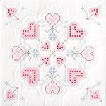 """XX Hearts - Stamped White Quilt Blocks 18""""X18"""" 6/Pkg"""