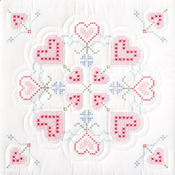 "XX Hearts - Stamped White Quilt Blocks 18""X18"" 6/Pkg"