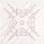 """Hearts - Stamped White Quilt Blocks 18""""X18"""" 6/Pkg"""