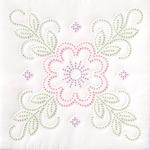 "Floral Design - Stamped White Quilt Blocks 18""X18"" 6/Pkg"