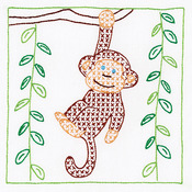 "Monkey - Stamped White Quilt Blocks 9""X9"" 12/Pkg"