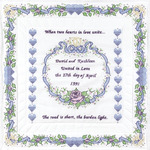 """Wedding - Stamped White Wall Or Lap Quilt 36""""X36"""""""