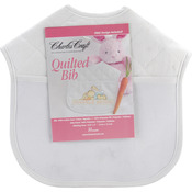 "White With Solid White Trim - Quilted Baby Bibs 9""X9"""