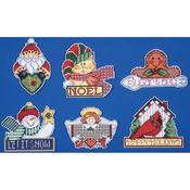 """3.5""""X4"""" 14 Count Set Of 6 - Signs Of Christmas Ornaments Counted Cross Stitch Ki"""