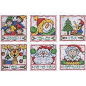 """4""""X4"""" 14 Count Set Of 6 - Holiday Tags Counted Cross Stitch Kit"""