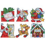 """3""""X4"""" 14 Count Set Of 6 - Santa's Workshop Ornaments Counted Cross Stitch Kit"""