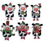 "3""X4"" Set Of 6 - Cow Ornaments Plastic Canvas Kit"