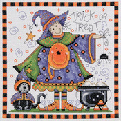 """8""""X8"""" 14 Count - Trick Or Treat Counted Cross Stitch Kit"""