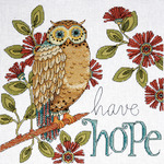 "10""X10"" 14 Count - Heartfelt Have Hope Owl Counted Cross Stitch Kit"