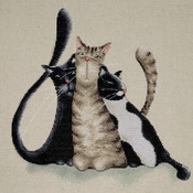 """12""""X12"""" 14 Count - Kitty Trio Counted Cross Stitch Kit"""