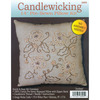 14 X14  - Jacobean Candlewicking Kit TOBIN-Candlewicking Embroidery: 14 inch Pre-Sewn Pillow. Candlewicking is a form of embroidery typically in Colonial American themes.  Tobin brings this traditional embroidery to you in amazing little kits.  Kit contains: 14 inch pre-printed pre-sewn 100% cotton muslin zipper back pillow made from natural fibers (may contain slubs or cotton pod/leaf particles which are inherent to this fabric), four strand candlewick thread, single strand cotton perle, needle and detailed instructions including stitch directions (pillow form and stuffing are not included). Design: Jacobean. Made in USA.