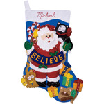"17"" Long - Believe Stocking Felt Applique Kit"
