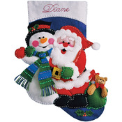 "16"" Long - Santa & Snowman Stocking Felt Applique Kit"