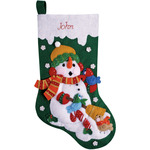 "16"" Long - Snowman With Birds Stocking Felt Applique Kit"