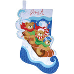 "16"" Long - Toboggan Bears Stocking Felt Applique Kit"