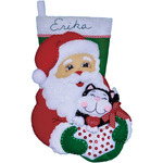 "16"" Long - Santa & Kitten Stocking Felt Applique Kit"