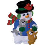 """13""""X18"""" - Snowman With Cats Wall Hanging Felt Applique Kit"""