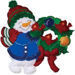 """16""""X17"""" - Snowman & Cardinals Wall Hanging Felt Applique Kit"""
