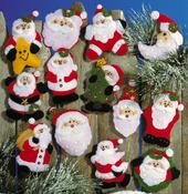 """3""""X4"""" Set Of 13 - Lots Of Santas Ornaments Felt Applique Kit"""
