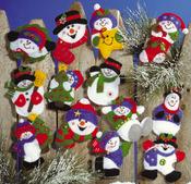 Lots Of Fun Snowmen Ornaments Felt Applique Kit