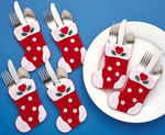 "4""X6"" Set Of 6 - Christmas Stocking Silverware Pockets Felt Applique Kit"