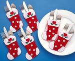 "4""X6"" Set Of 6 - Christmas Stocking Silverware Pockets Felt Applique Kit"
