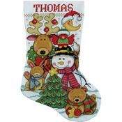 """17"""" Long 14 Count - Making New Friends Stocking Counted Cross Stitch Kit"""