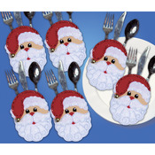 "4""X6"" Set Of 6 - Santa Faces Silverware Pockets Felt Applique Kit"