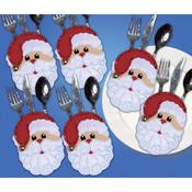 "4""X6"" Set Of 6 - Santa Faces Silverware Pockets Felt Applique Kit"