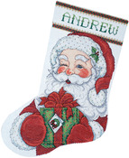 "17"" Long 14 Count - Winking Santa Stocking Counted Cross Stitch Kit"