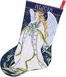 "17"" Long 14 Count - Holly Angel Stocking Counted Cross Stitch Kit"