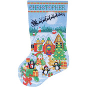 "17"" Long 14 Count - Penguin Party Stocking Counted Cross Stitch Kit"