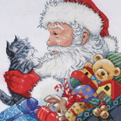 "13""X13"" 14 Count - Santa & Kitten Counted Cross Stitch Kit"