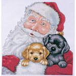 """13""""X13"""" 14 Count - Santa With Puppies Counted Cross Stitch Kit"""